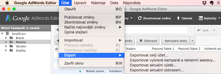 Google Ads Editor - export účtu