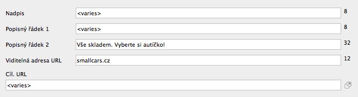 AdWords Editor - Hromadná úprava viditelné adresy