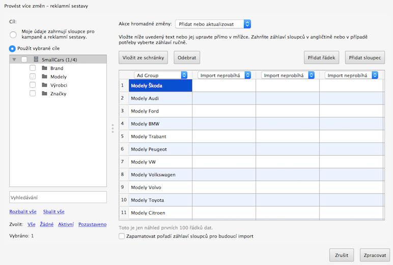 Google Ads Editor - hromadné přidání sestav