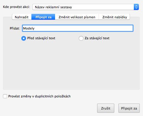 Google Ads Editor - přidat text před