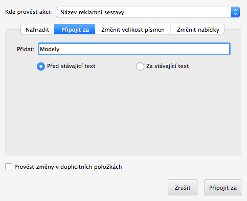 AdWords Editor - přidat text před