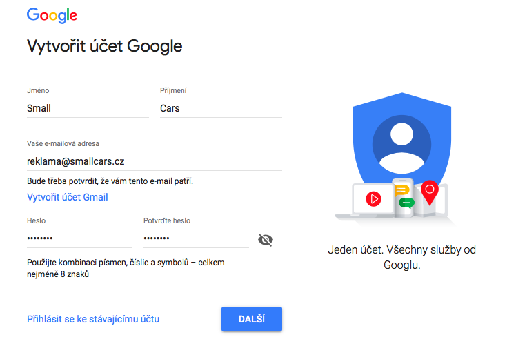 Vytvoření Google Account