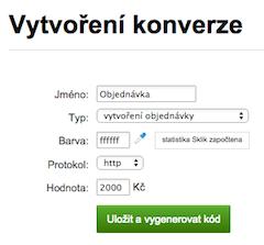 Vytvoření konverzního kódu v Skliku