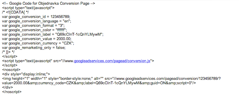 Konverzní kód AdWords