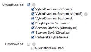 Vypnutí obsahové sítě v Skliku