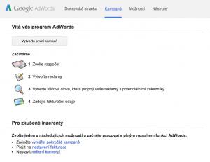 Prázdný AdWords účet
