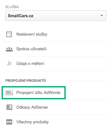 Propojení AdWords s Google Analytics